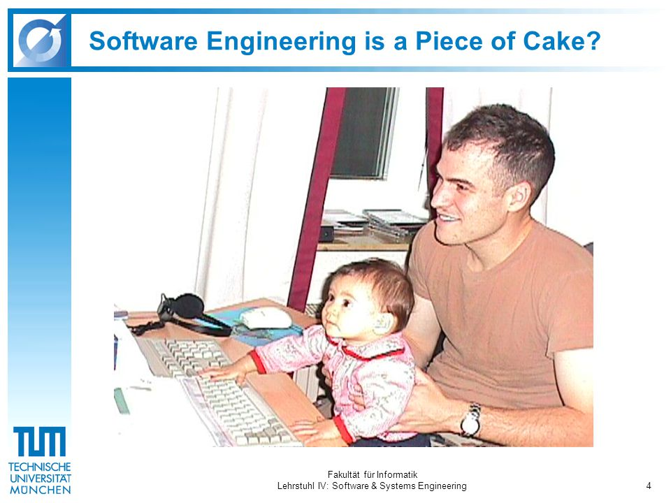 Fakultät für Informatik Lehrstuhl IV: Software & Systems Engineering4 Software Engineering is a Piece of Cake?