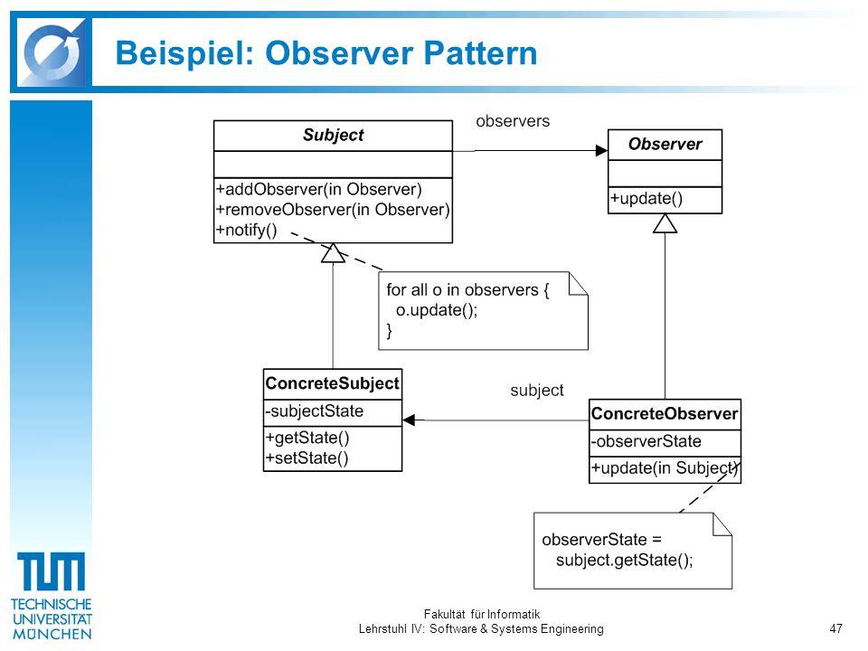 Fakultät für Informatik Lehrstuhl IV: Software & Systems Engineering47 Beispiel: Observer Pattern