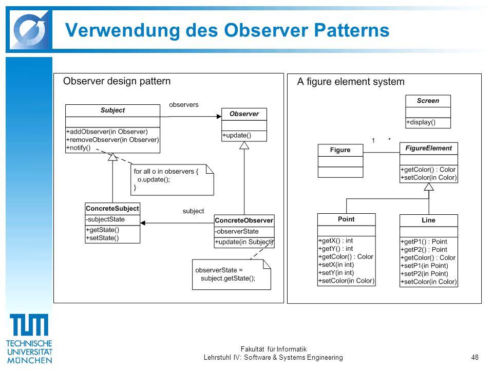 Fakultät für Informatik Lehrstuhl IV: Software & Systems Engineering48 Verwendung des Observer Patterns