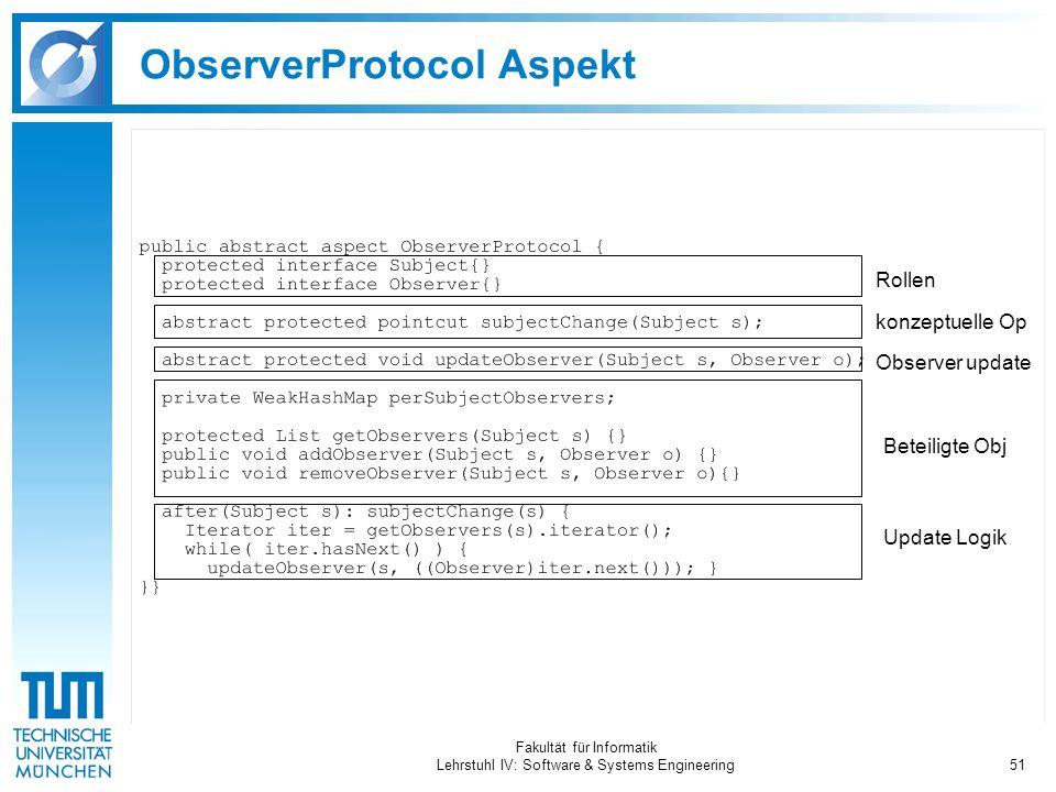 Fakultät für Informatik Lehrstuhl IV: Software & Systems Engineering51 ObserverProtocol Aspekt Rollen Observer update konzeptuelle Op Update Logik Beteiligte Obj