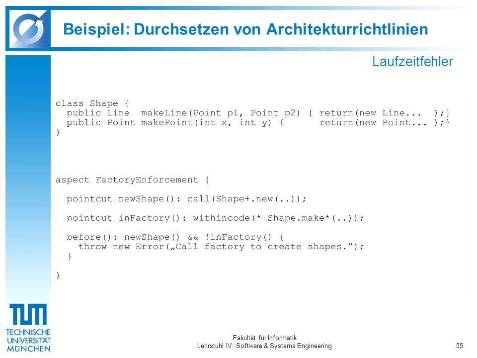Fakultät für Informatik Lehrstuhl IV: Software & Systems Engineering55 Beispiel: Durchsetzen von Architekturrichtlinien Laufzeitfehler