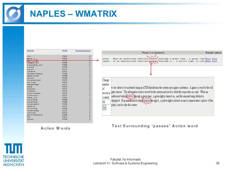 Fakultät für Informatik Lehrstuhl IV: Software & Systems Engineering58 NAPLES – WMATRIX