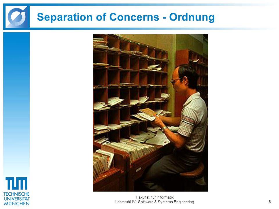 Fakultät für Informatik Lehrstuhl IV: Software & Systems Engineering8 Separation of Concerns - Ordnung
