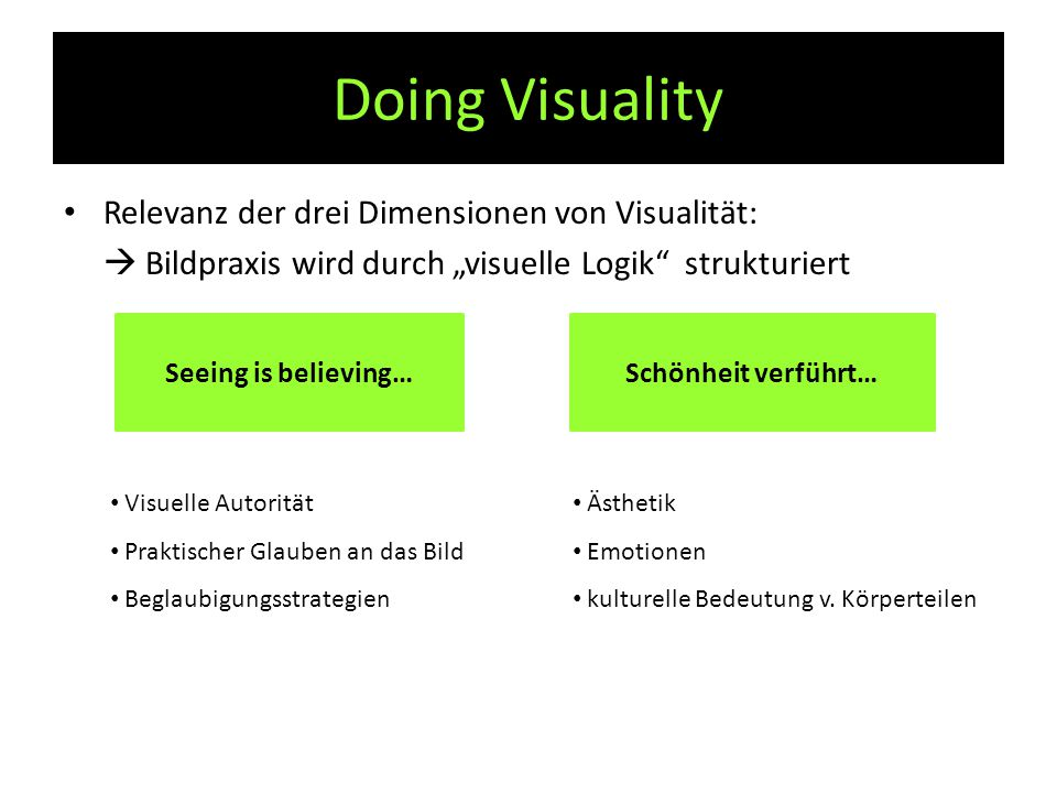 """Doing Visuality Relevanz der drei Dimensionen von Visualität:  Bildpraxis wird durch """"visuelle Logik"""" strukturiert Seeing is believing…Schönheit verf"""
