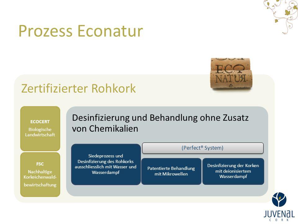 Prozess Econatur Zertifizierter Rohkork ECOCERT Biologische Landwirtschaft FSC Nachhaltige Korkeichenwald- bewirtschaftung Desinfizierung und Behandlu