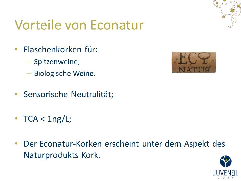 Vorteile von Econatur Flaschenkorken für: – Spitzenweine; – Biologische Weine. Sensorische Neutralität; TCA < 1ng/L; Der Econatur-Korken erscheint unt