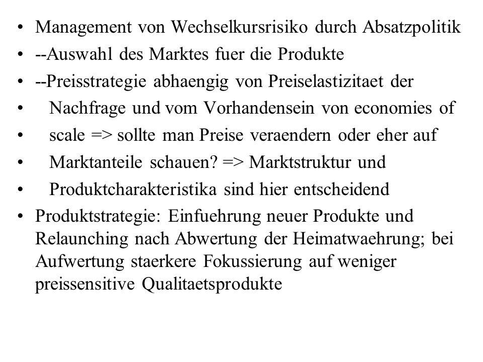 Management von Wechselkursrisiko durch Absatzpolitik --Auswahl des Marktes fuer die Produkte --Preisstrategie abhaengig von Preiselastizitaet der Nach