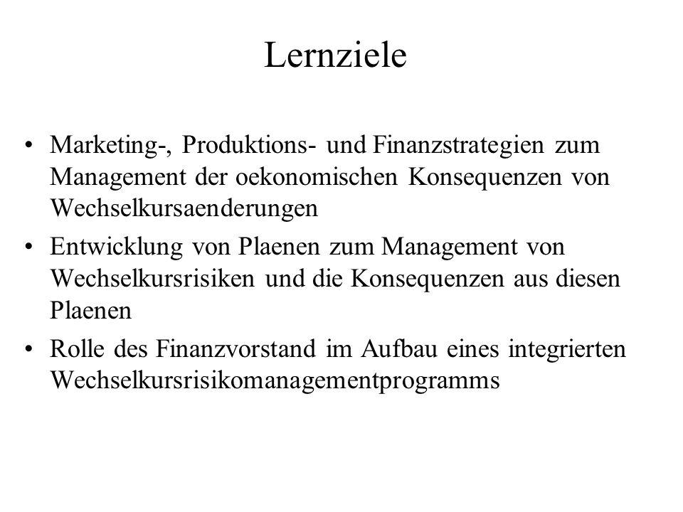 Lernziele Marketing-, Produktions- und Finanzstrategien zum Management der oekonomischen Konsequenzen von Wechselkursaenderungen Entwicklung von Plaen