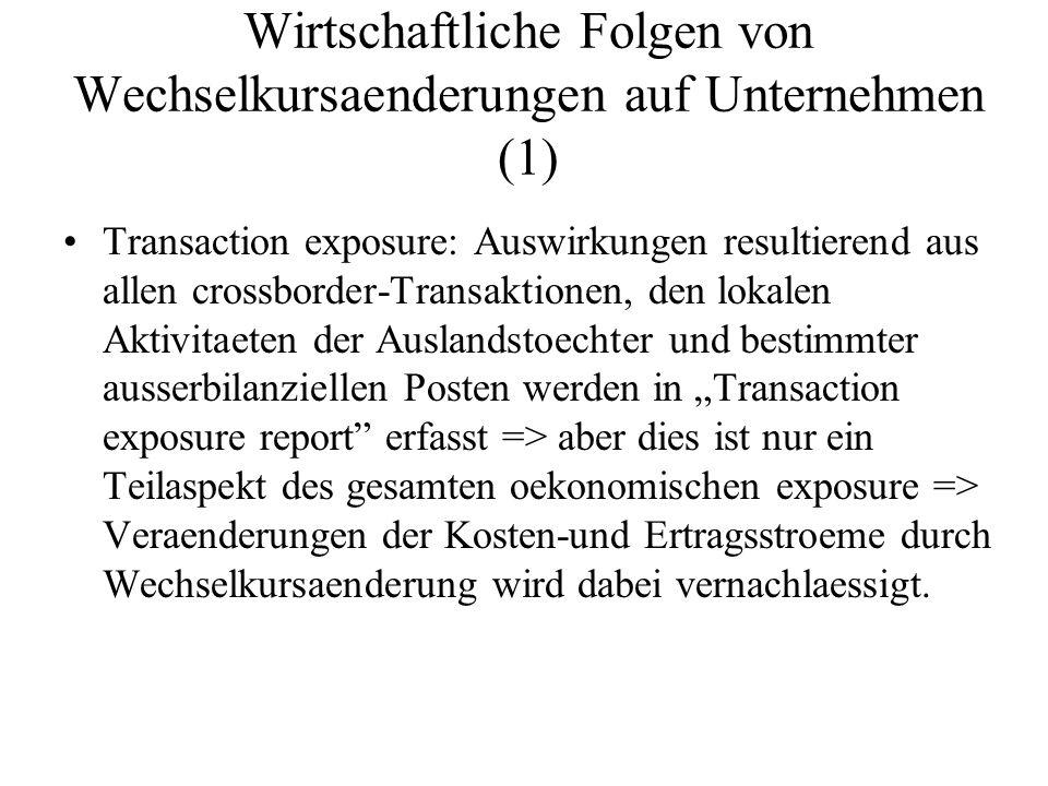 Wirtschaftliche Folgen von Wechselkursaenderungen auf Unternehmen (1) Transaction exposure: Auswirkungen resultierend aus allen crossborder-Transaktio