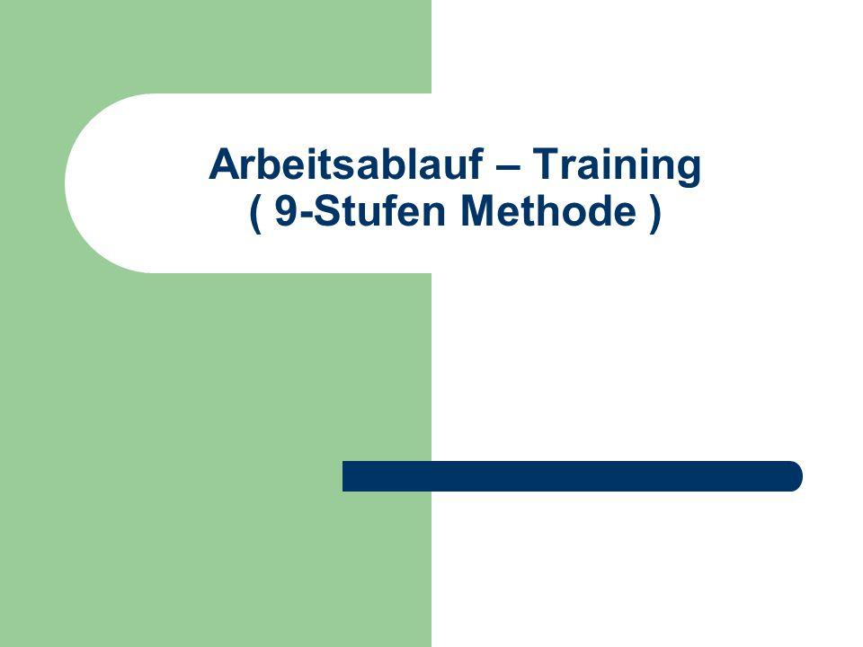 Arbeitsablauf - Trainings Durchführung Vorbereitung des Mitarbeiters auf Training Ausarbeitung der Trainingsunterlagen Grundlagen