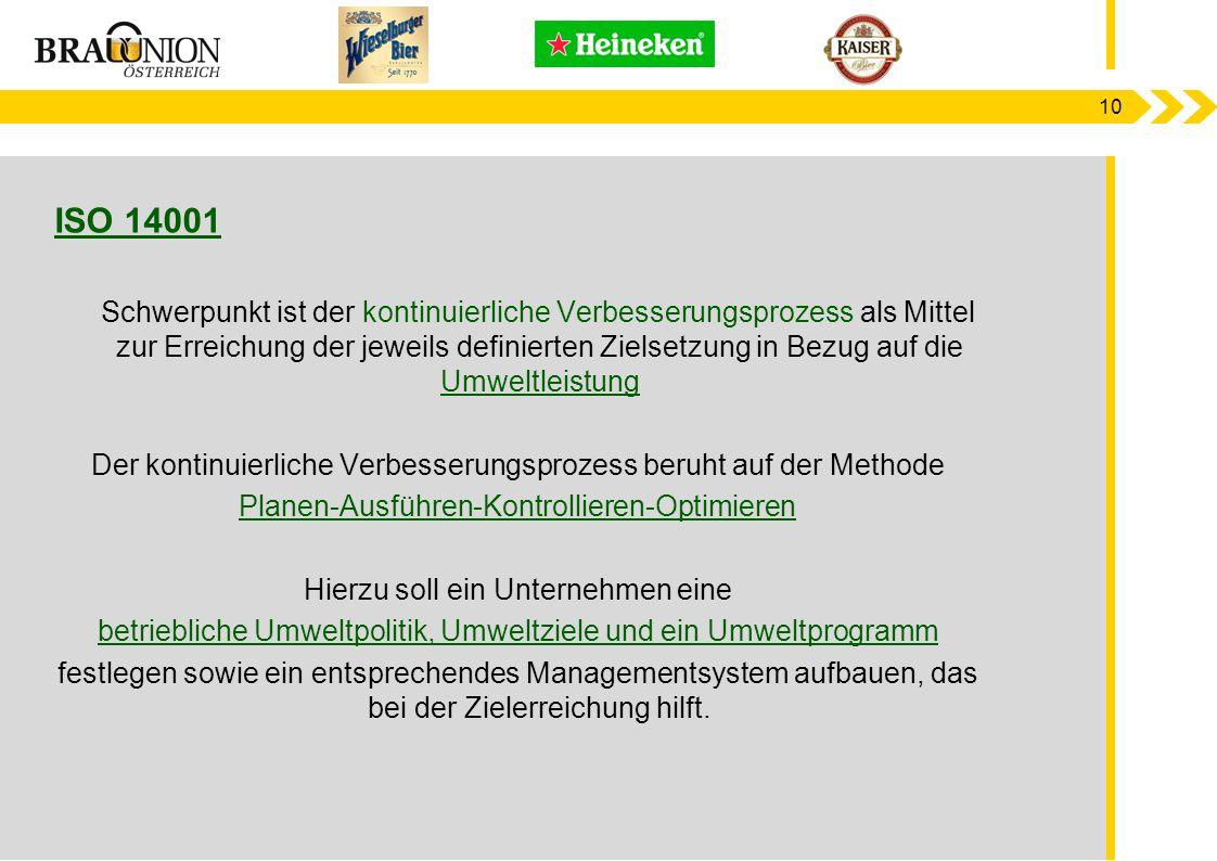 10 ISO 14001 Schwerpunkt ist der kontinuierliche Verbesserungsprozess als Mittel zur Erreichung der jeweils definierten Zielsetzung in Bezug auf die U