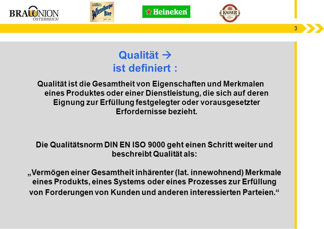 """3 Die Qualitätsnorm DIN EN ISO 9000 geht einen Schritt weiter und beschreibt Qualität als: """"Vermögen einer Gesamtheit inhärenter (lat. innewohnend) Me"""