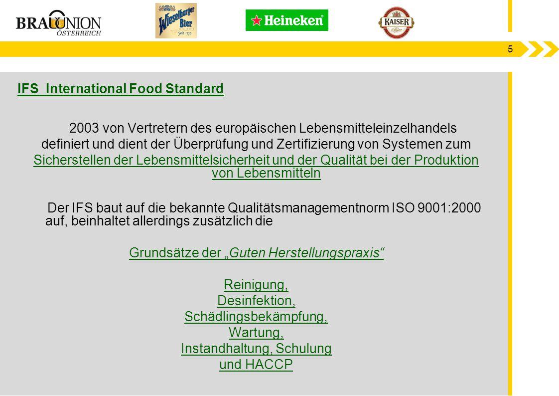 6 Produktions - prozess Roh- stoffe Zwischen Produkte Fertig- Produkt Legal Compliance HACCP ISO 9001 und 14001 Betriebs- kontrolle LAB STAR Bench- marks International Food Standard