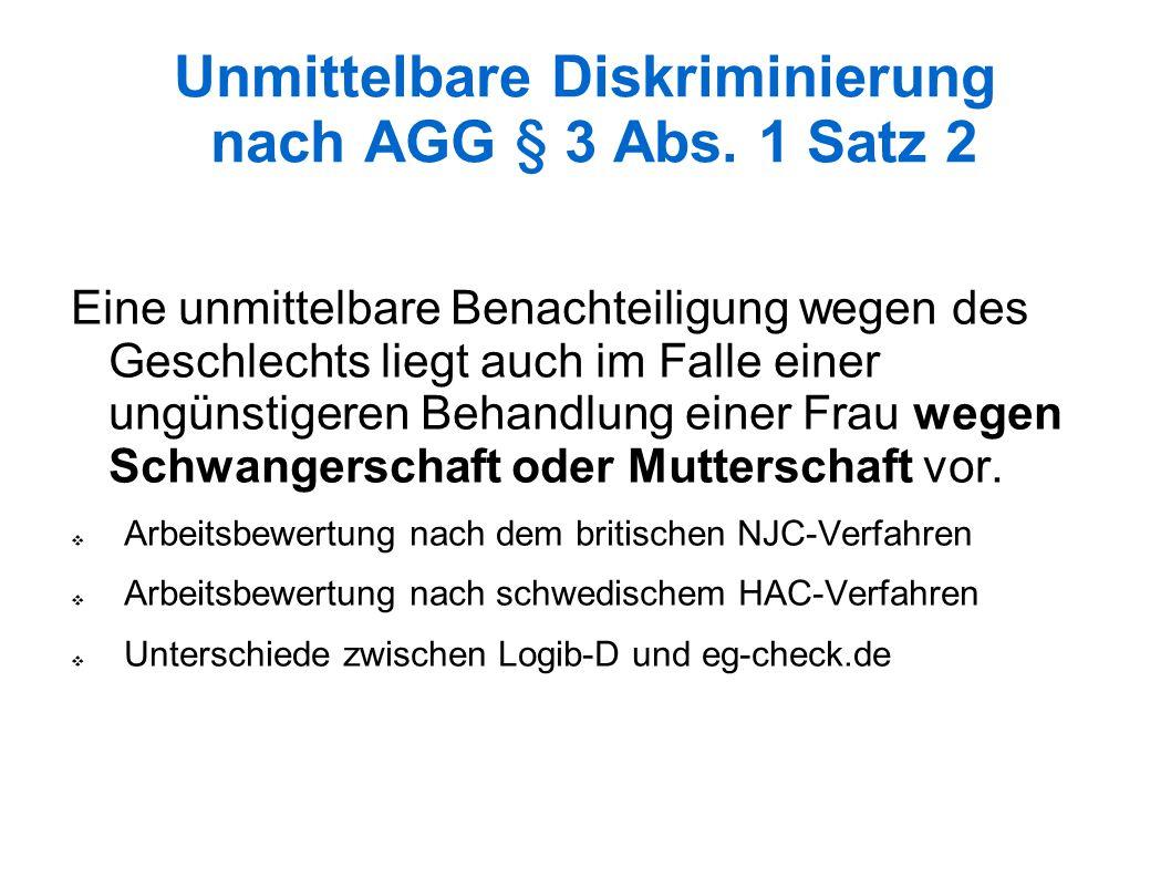 Unmittelbare Diskriminierung nach AGG § 3 Abs.