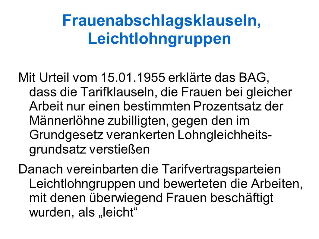 """Frauenabschlagsklauseln, Leichtlohngruppen Mit Urteil vom 15.01.1955 erklärte das BAG, dass die Tarifklauseln, die Frauen bei gleicher Arbeit nur einen bestimmten Prozentsatz der Männerlöhne zubilligten, gegen den im Grundgesetz verankerten Lohngleichheits- grundsatz verstießen Danach vereinbarten die Tarifvertragsparteien Leichtlohngruppen und bewerteten die Arbeiten, mit denen überwiegend Frauen beschäftigt wurden, als """"leicht"""