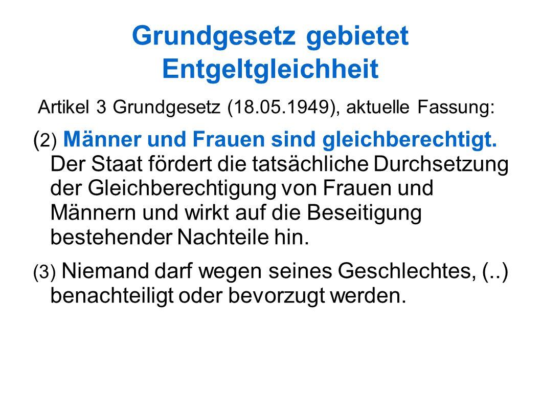 Grundgesetz gebietet Entgeltgleichheit Artikel 3 Grundgesetz (18.05.1949), aktuelle Fassung: ( 2) Männer und Frauen sind gleichberechtigt.