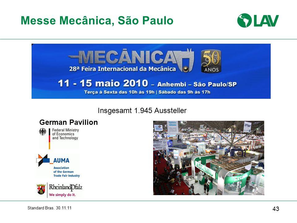 Standard Bras. 30.11.11 Messe Mecânica, São Paulo 43 German Pavilion Insgesamt 1.945 Aussteller