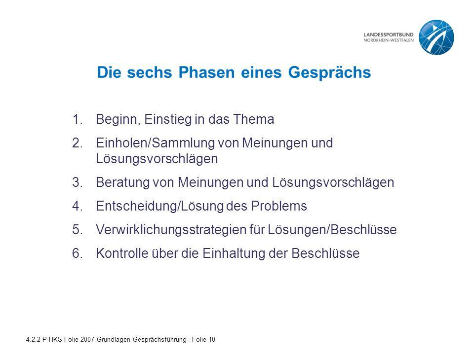 Die sechs Phasen eines Gesprächs 4.2.2 P-HKS Folie 2007 Grundlagen Gesprächsführung - Folie 10 1.Beginn, Einstieg in das Thema 2.Einholen/Sammlung von