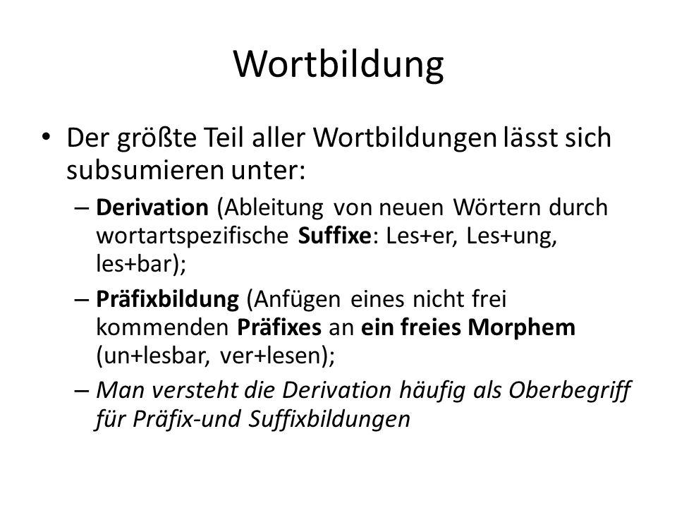 Wortbildung Der größte Teil aller Wortbildungen lässt sich subsumieren unter: – Derivation (Ableitung von neuen Wörtern durch wortartspezifische Suffixe: Les+er, Les+ung, les+bar); – Präfixbildung (Anfügen eines nicht frei kommenden Präfixes an ein freies Morphem (un+lesbar, ver+lesen); – Man versteht die Derivation häufig als Oberbegriff für Präfix-und Suffixbildungen