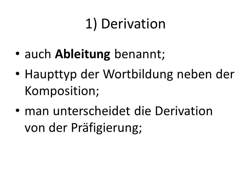 1) Derivation auch Ableitung benannt; Haupttyp der Wortbildung neben der Komposition; man unterscheidet die Derivation von der Präfigierung;