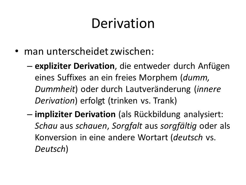 Derivation man unterscheidet zwischen: – expliziter Derivation, die entweder durch Anfügen eines Suffixes an ein freies Morphem (dumm, Dummheit) oder durch Lautveränderung (innere Derivation) erfolgt (trinken vs.