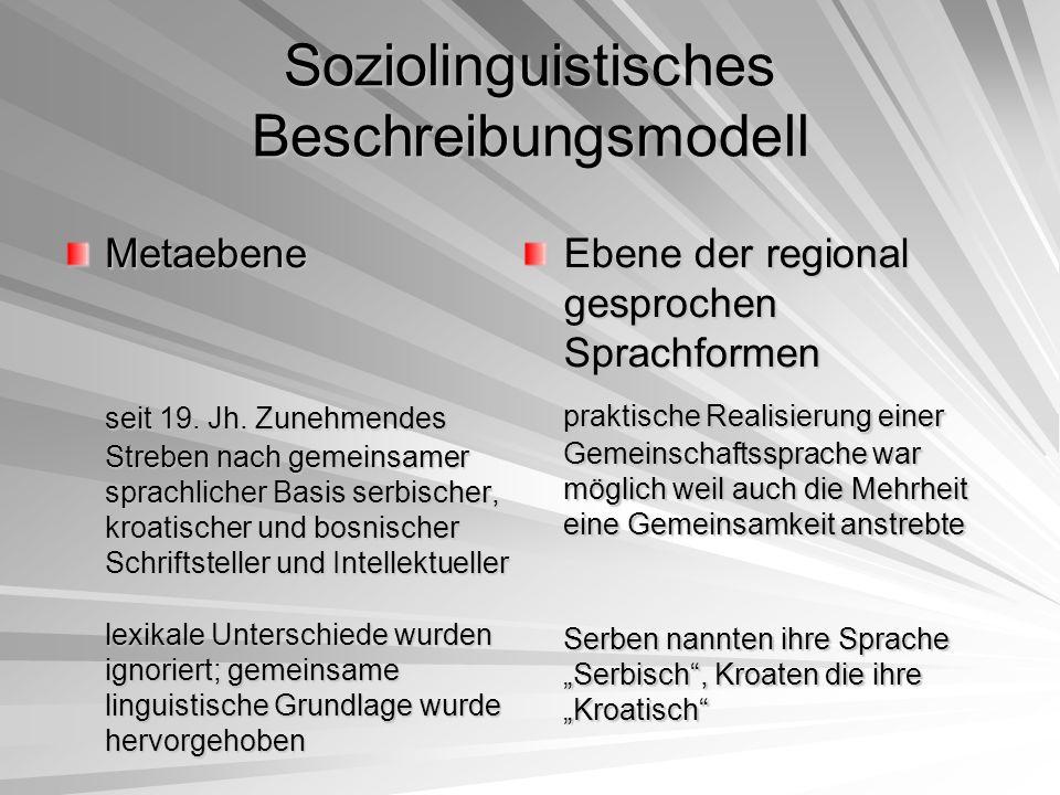 Soziolinguistisches Beschreibungsmodell Metaebene seit 19. Jh. Zunehmendes Streben nach gemeinsamer sprachlicher Basis serbischer, kroatischer und bos