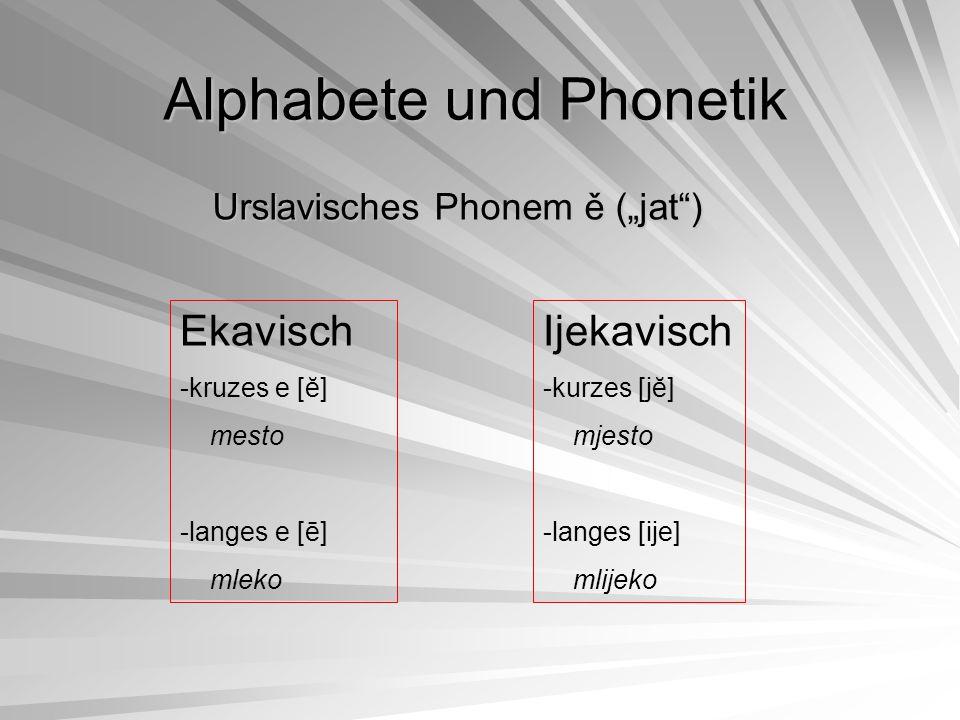 "Urslavisches Phonem ě (""jat"") Ekavisch -kruzes e [ĕ] mesto -langes e [ē] mleko Ijekavisch -kurzes [jĕ] mjesto -langes [ije] mlijeko Alphabete und Phon"