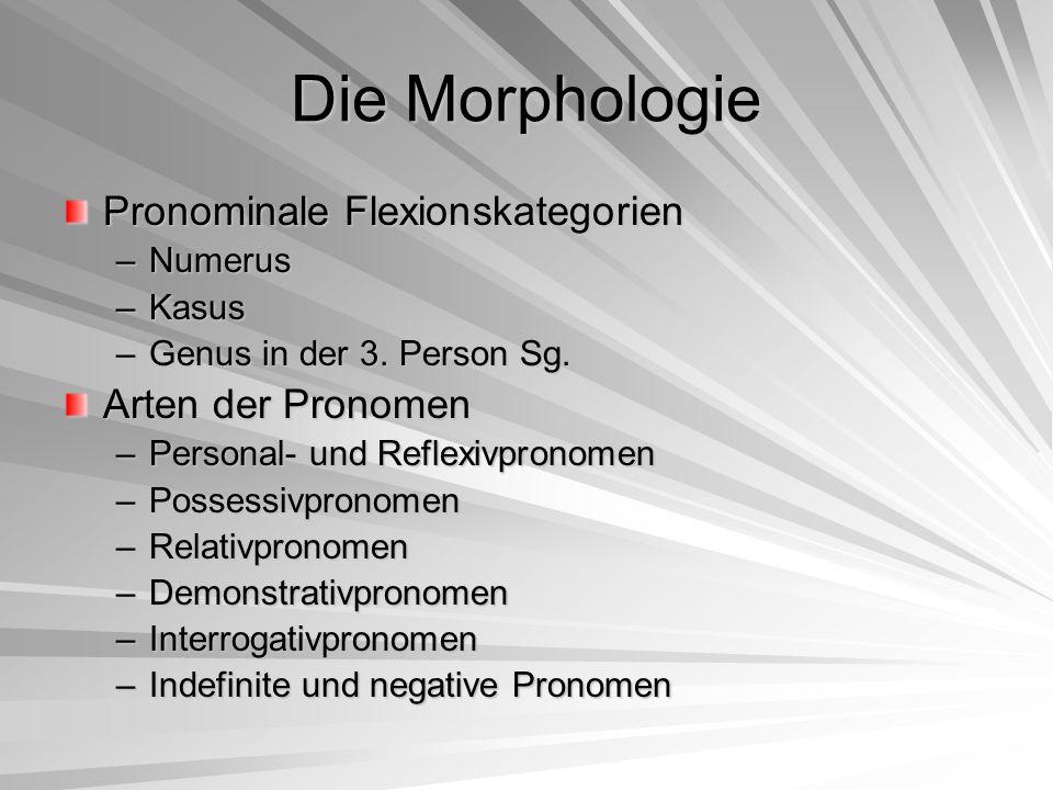 Die Morphologie Pronominale Flexionskategorien –Numerus –Kasus –Genus in der 3. Person Sg. Arten der Pronomen –Personal- und Reflexivpronomen –Possess