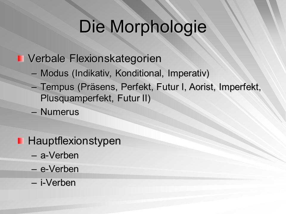 Die Morphologie Verbale Flexionskategorien –Modus (Indikativ, Konditional, Imperativ) –Tempus (Präsens, Perfekt, Futur I, Aorist, Imperfekt, Plusquamp