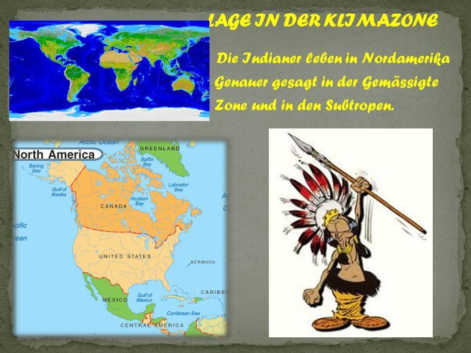 Die Indianer leben in Nordamerika Genauer gesagt in der Gemässigte Zone und in den Subtropen.