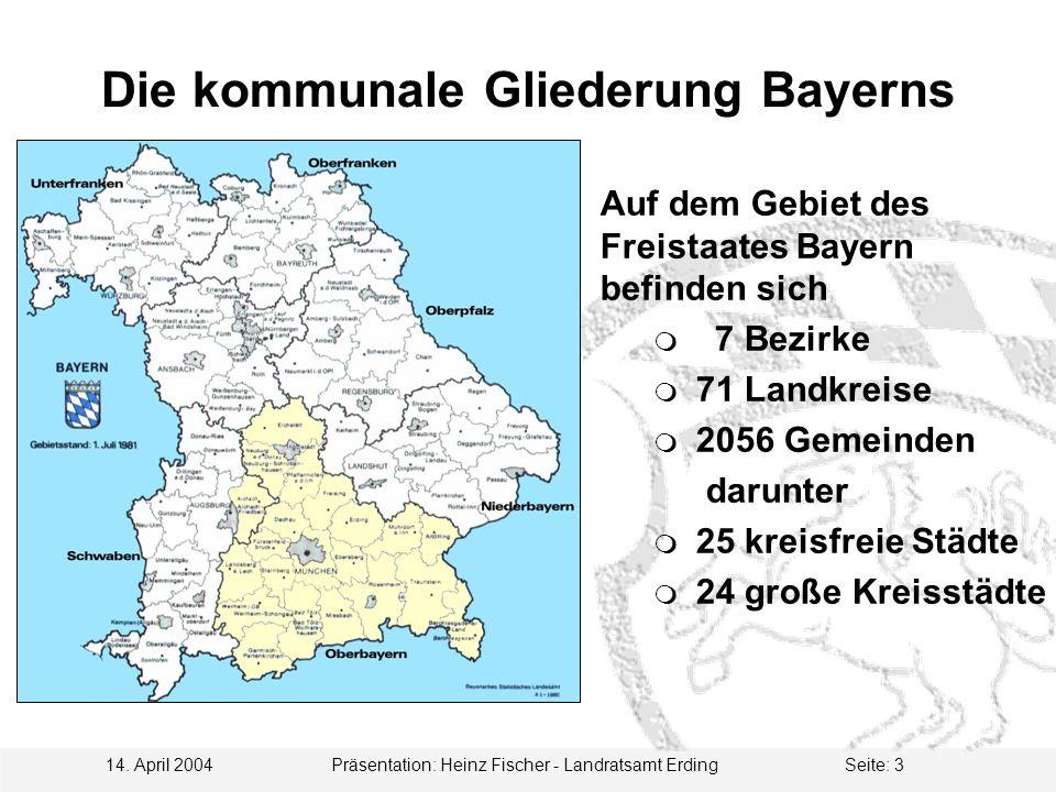 14. April 2004 Präsentation: Heinz Fischer - Landratsamt ErdingSeite: 3 Die kommunale Gliederung Bayerns Auf dem Gebiet des Freistaates Bayern befinde