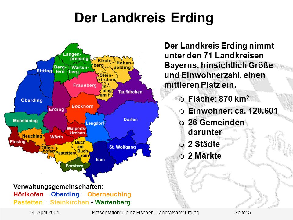14. April 2004 Präsentation: Heinz Fischer - Landratsamt ErdingSeite: 5 Der Landkreis Erding Der Landkreis Erding nimmt unter den 71 Landkreisen Bayer