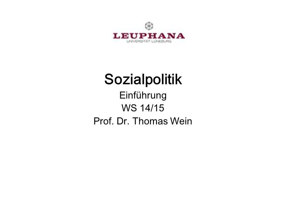 Prof. Dr. Thomas Wein, WIPO 13 Kapitel 5 Sozialpolitik Problemstellung
