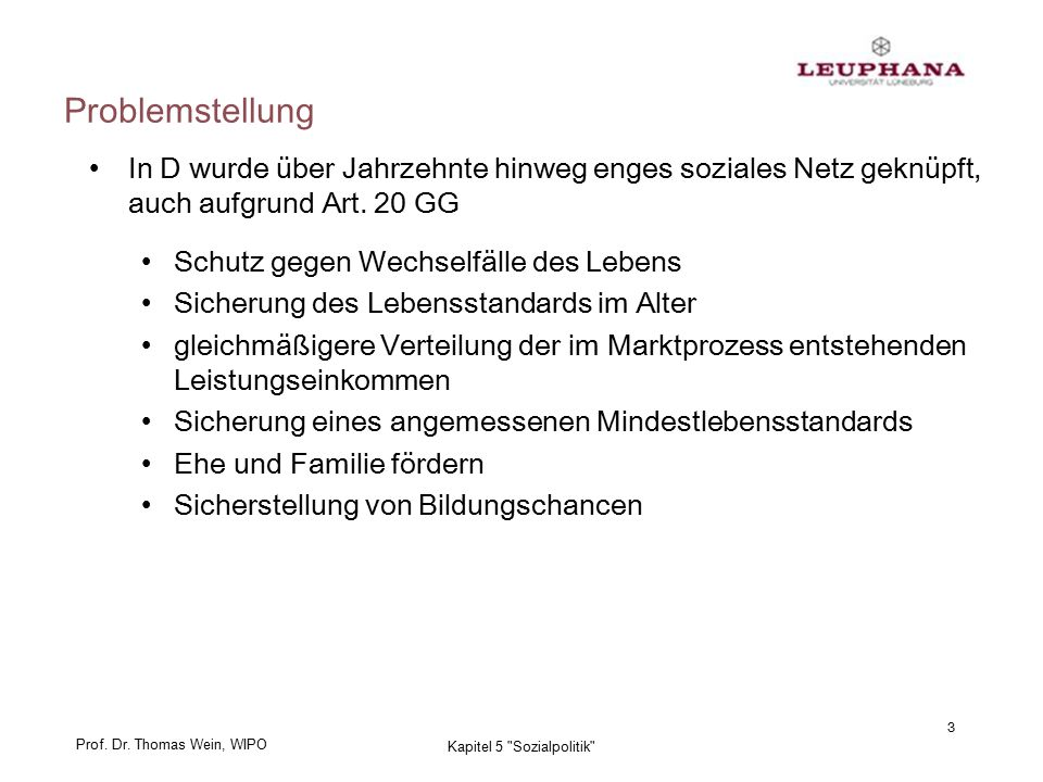 Prof. Dr. Thomas Wein, WIPO 24 Kapitel 5 Sozialpolitik