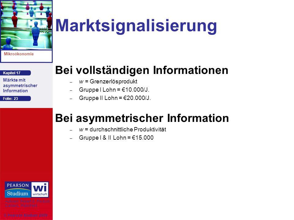 Kapitel 17 Mikroökonomie Autoren: Robert S. Pindyck Daniel L. Rubinfeld Märkte mit asymmetrischer Information © Pearson Studium 2009 Folie: 23 Marktsi