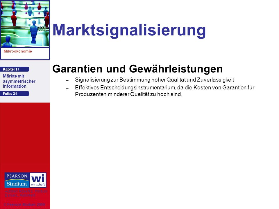 Kapitel 17 Mikroökonomie Autoren: Robert S. Pindyck Daniel L. Rubinfeld Märkte mit asymmetrischer Information © Pearson Studium 2009 Folie: 31 Marktsi