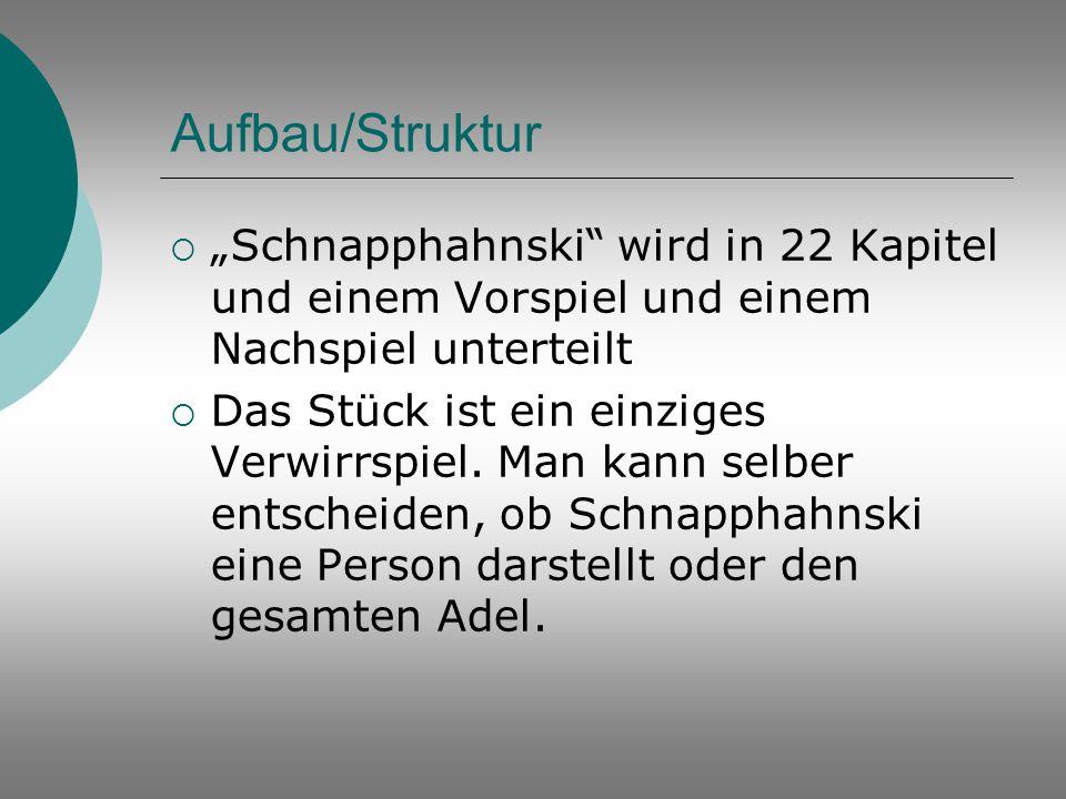 """Aufbau/Struktur  """"Schnapphahnski"""" wird in 22 Kapitel und einem Vorspiel und einem Nachspiel unterteilt  Das Stück ist ein einziges Verwirrspiel. Man"""