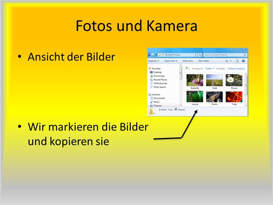 Fotos und Kamera Ansicht der Bilder Wir markieren die Bilder und kopieren sie