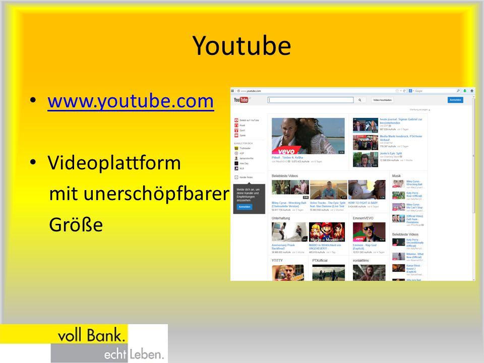 Youtube www.youtube.com Videoplattform mit unerschöpfbarer Größe
