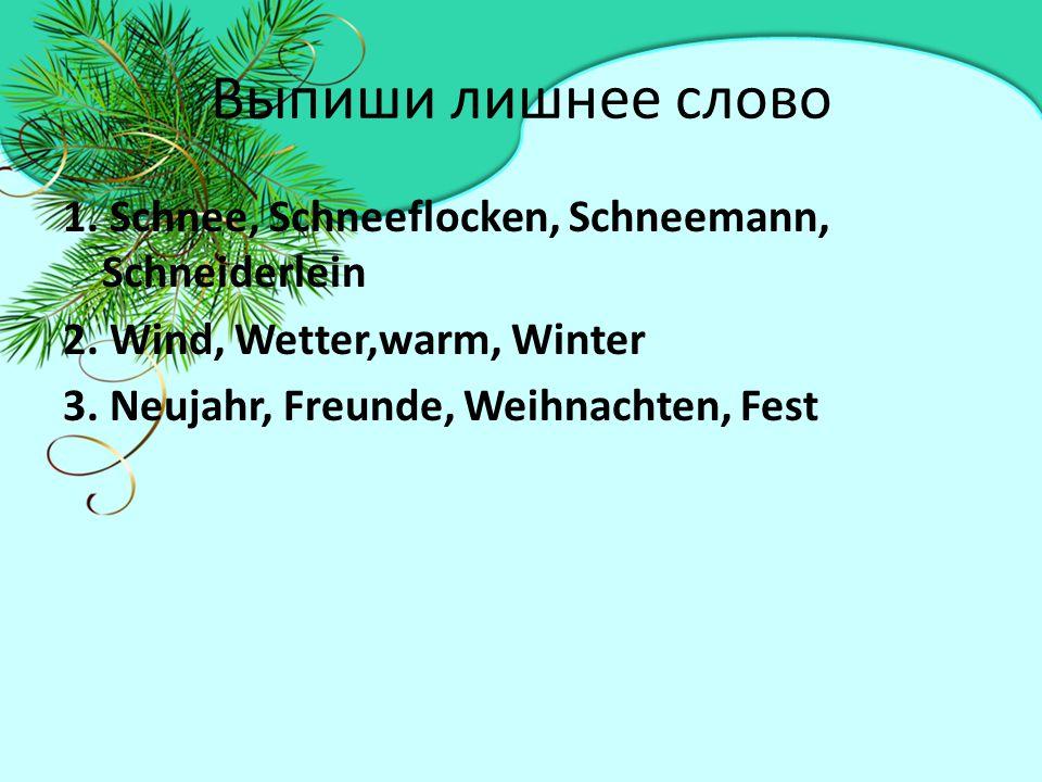 Выпиши лишнее слово 1. Schnee, Schneeflocken, Schneemann, Schneiderlein 2.