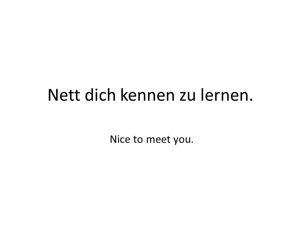 Nett dich kennen zu lernen. Nice to meet you.