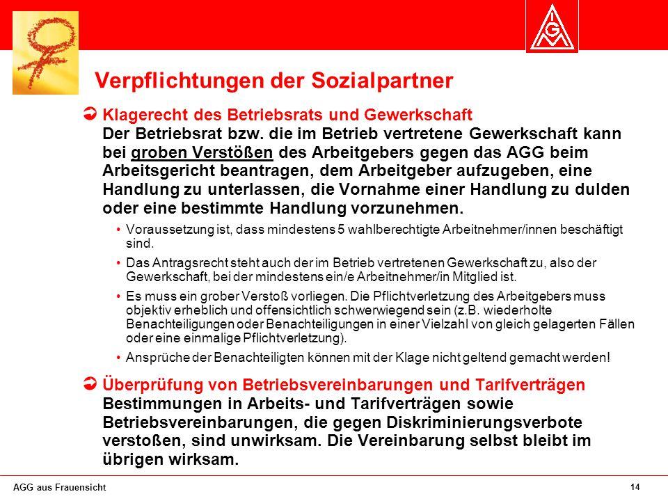 14 AGG aus Frauensicht Verpflichtungen der Sozialpartner Klagerecht des Betriebsrats und Gewerkschaft Der Betriebsrat bzw.