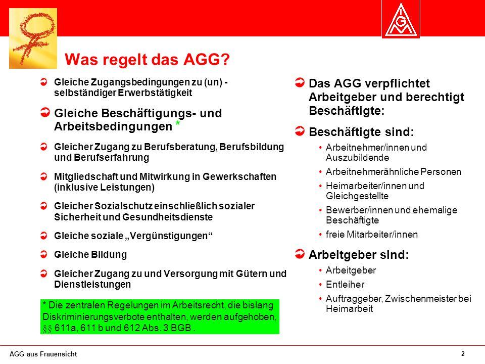 2 AGG aus Frauensicht Was regelt das AGG.