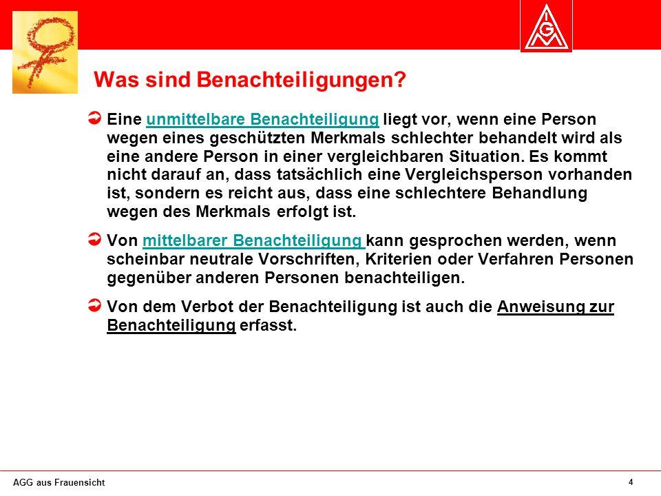5 AGG aus Frauensicht Das AGG wird das heutige Beschäftigten schutzgesetz ablösen.
