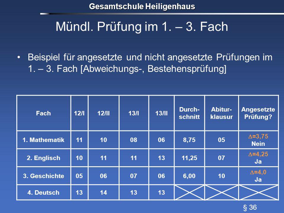 Mündl. Prüfung im 1. – 3. Fach Beispiel für angesetzte und nicht angesetzte Prüfungen im 1.