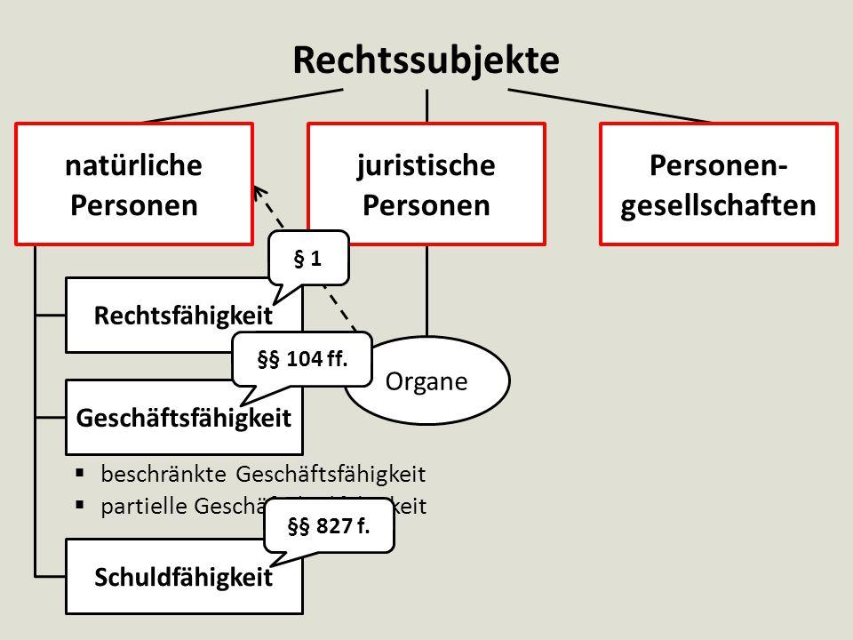Rechtssubjekte  beschränkte Geschäftsfähigkeit  partielle Geschäfts(un)fähigkeit natürliche Personen Rechtsfähigkeit Geschäftsfähigkeit Schuldfähigkeit Organe §§ 104 ff.