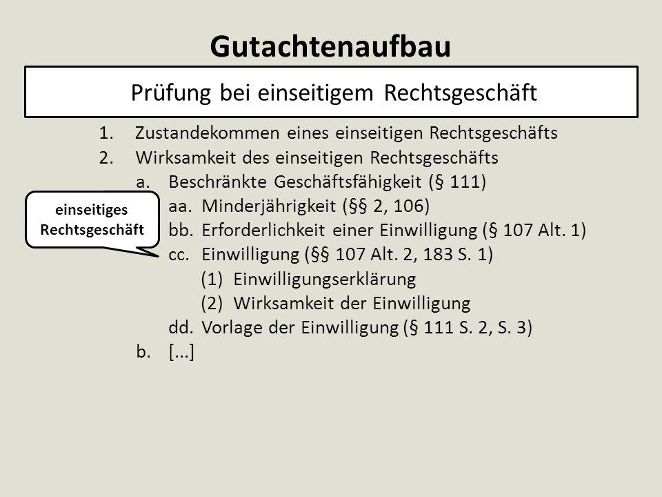 Gutachtenaufbau Prüfung bei einseitigem Rechtsgeschäft 1.Zustandekommen eines einseitigen Rechtsgeschäfts 2.Wirksamkeit des einseitigen Rechtsgeschäfts a.Beschränkte Geschäftsfähigkeit (§ 111) aa.Minderjährigkeit (§§ 2, 106) bb.Erforderlichkeit einer Einwilligung (§ 107 Alt.