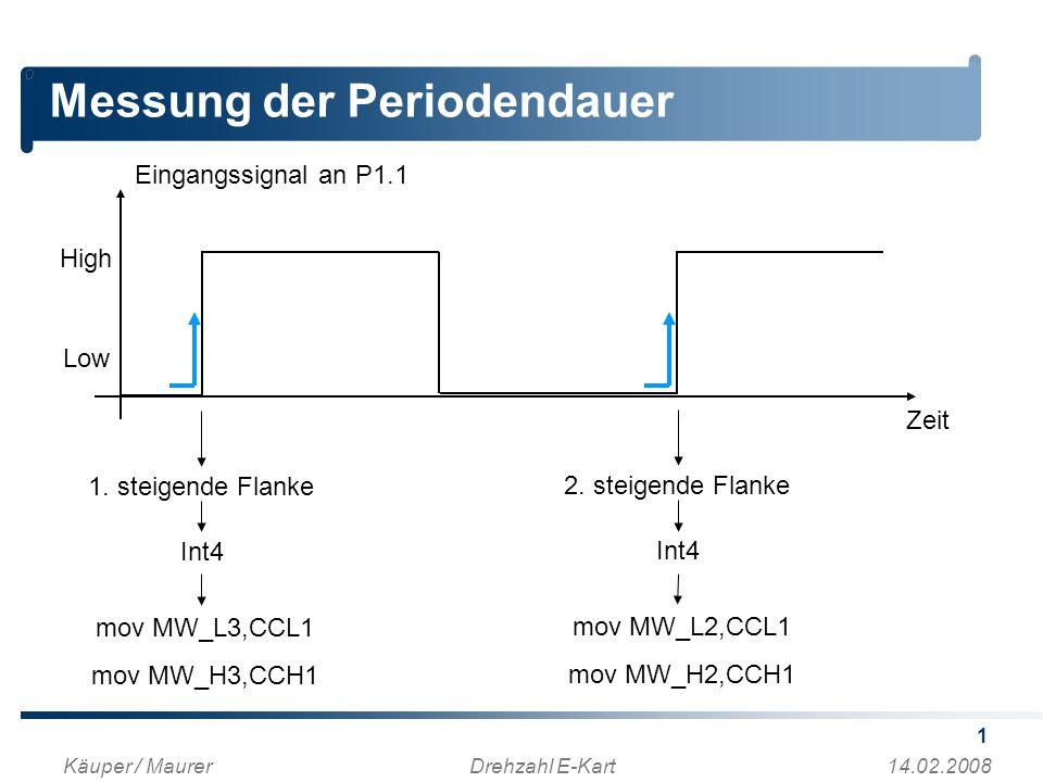 1 Messung der Periodendauer Käuper / MaurerDrehzahl E-Kart14.02.2008 High Low Eingangssignal an P1.1 Zeit 1.
