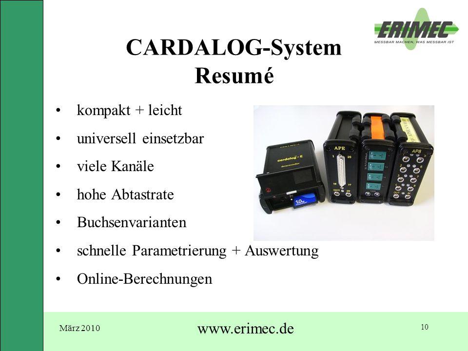 März 2010 www.erimec.de 10 CARDALOG-System Resumé kompakt + leicht universell einsetzbar viele Kanäle hohe Abtastrate Buchsenvarianten schnelle Parame