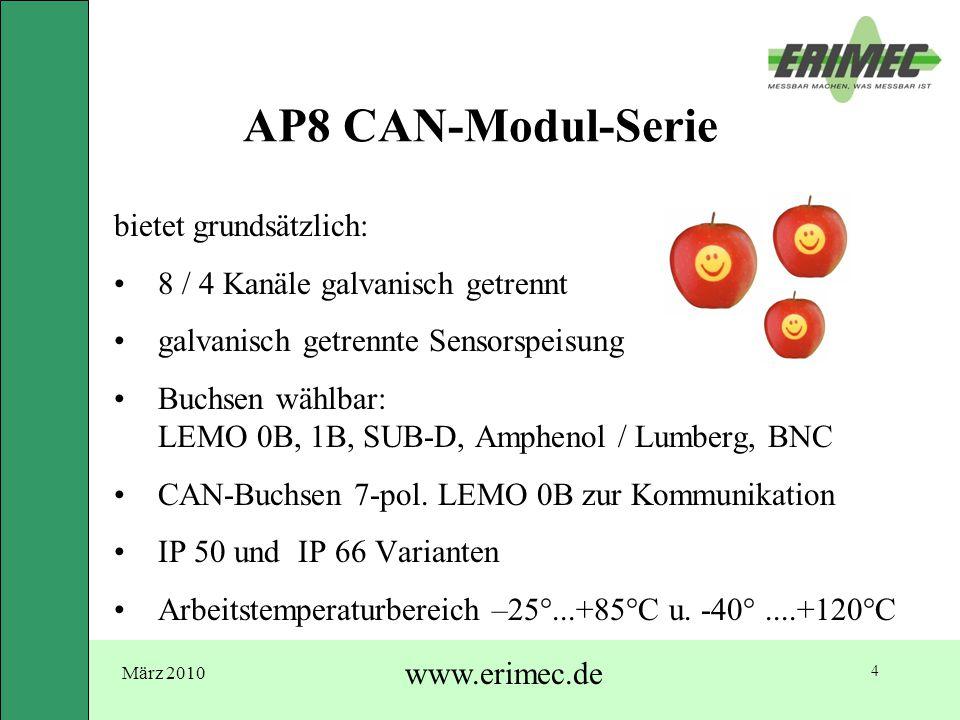 März 2010 www.erimec.de 4 AP8 CAN-Modul-Serie bietet grundsätzlich: 8 / 4 Kanäle galvanisch getrennt galvanisch getrennte Sensorspeisung Buchsen wählb